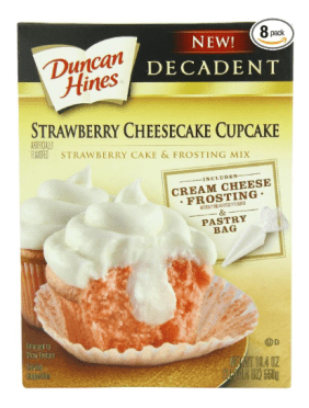 Duncan Hines Strawberry Cheesecake Cupcakes.