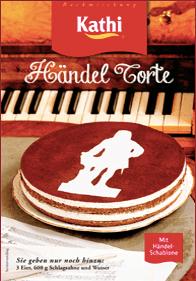 Händel-Torte von Kathi - ähnlich wie beim Luther-Kuchen wird der Zusammenhang zur historischen Person optisch durch eine Kakao-Schablone hergestellt.