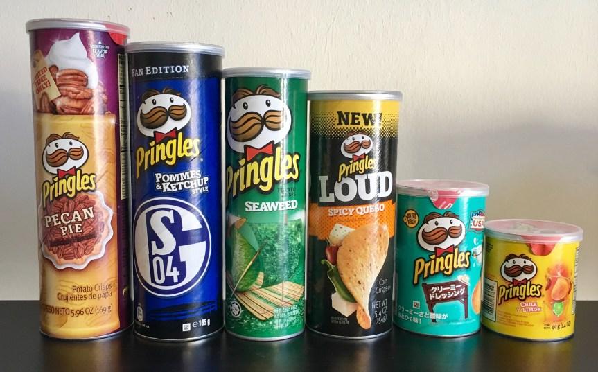 Dosenvielfalt bei Pringles in USA, Europa und Asien: von 40 bis 190 Gramm