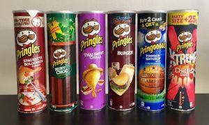 Pringles-Dosen in den Standardgrößen in England und Europa