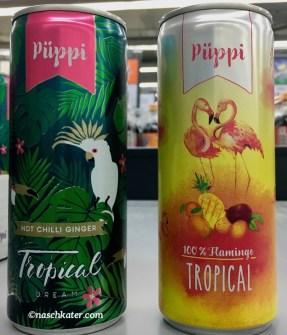 Püppi Hot Chilli Ginger Tropical Dream und 100% Flamingo Tropical Getränkedosen
