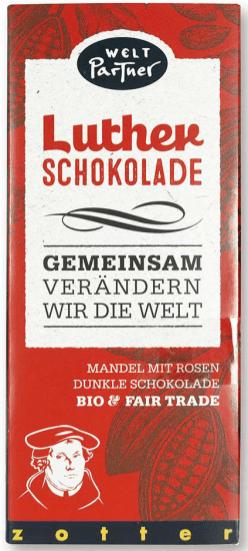 Luther Schokolade Zotter Mandel und Rosen