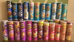 Pringles Blau- und Rosatöne Farbverlauf