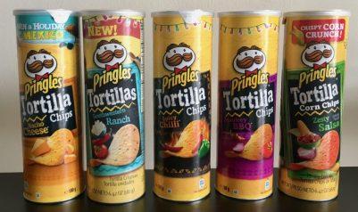 Pringles Tortilla Chips (meine Lieblings-Edition) mit folgenden Sorten: Nacho Cheese, Southwestern Ranch, Spicy Chilli, Smokey BBQ, Zesty Salsa.
