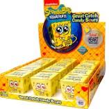 Eine ganze Palette saurer Drops in Kartönchen mit Spongebob-Motiv