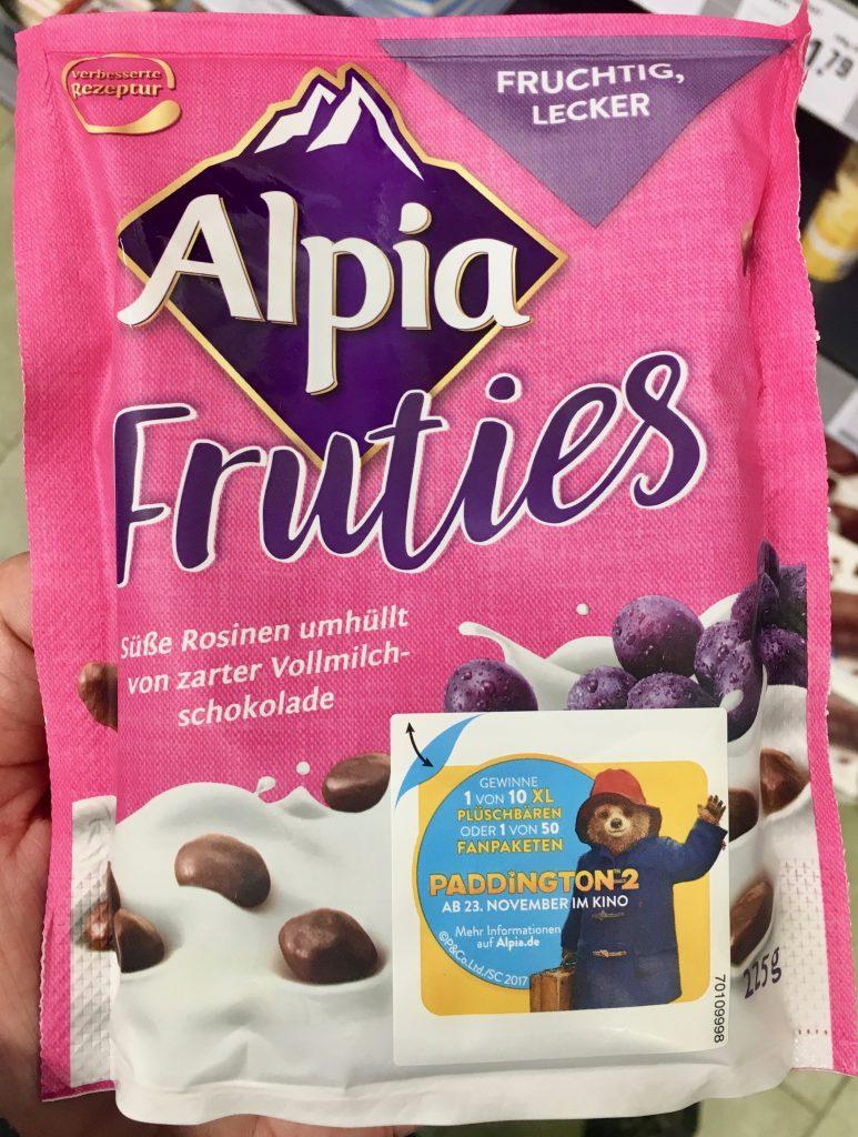 Alpia Fruties Süße Rosinen in Vollmilchschokolade
