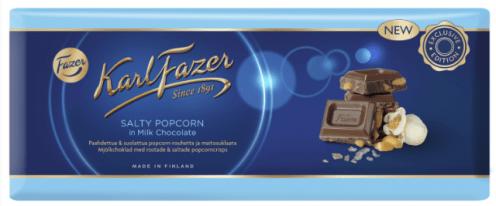 Karl Fazer Salty Popcorn in Milk Chocolate
