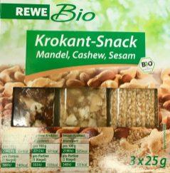 Rewe Bio Krokant-Snack Mandel-Cashew-Sesam