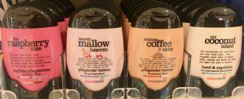 treaclemoon handcreme raspberry kiss-marshmallow heaven-nutmeg coffee cake-my coconut island