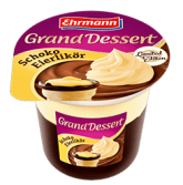 Fertigdesserts aus dem Kühlregal Ehrmann-Pudding Gran Ddessert Schoko-Eierlikoer und Karamell 190 Gramm
