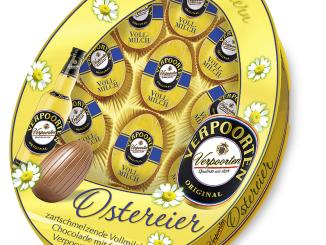 Verpoorten Schokoladen-Ostereier mit Eierlikör in Schachtel in Eiform