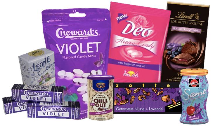 Süßigkeiten mit Lavendel Rose und Veilchen