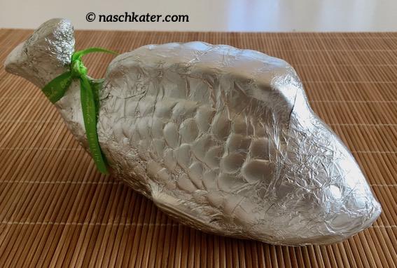 Süßkramdealer Fisch Schokoladenhohlfigur silber.