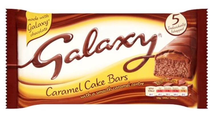 Galaxy Caramel Cake Bars with smooth caramel centre