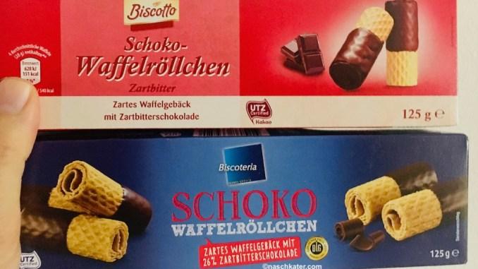 Biscotto Schoko-Waffelröllchen Zartbitter und Biscoteria Schoko-Waffelröllchen Zartbitter DLG