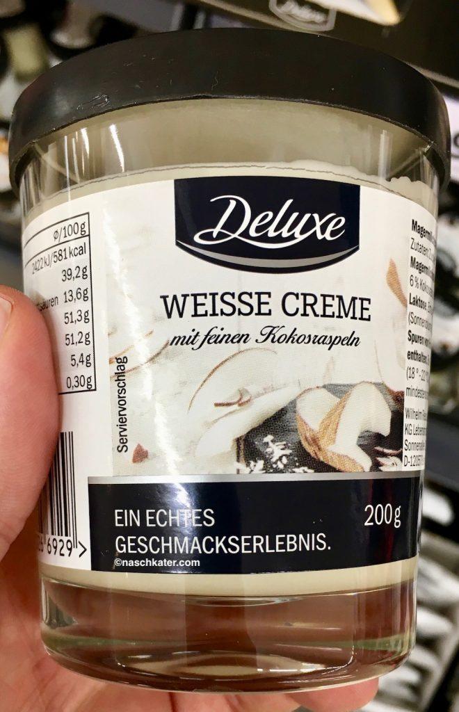 Lidl Deluxe Weisse Creme mit feinen Kokosraspeln 200g Brotaufstrich Spread