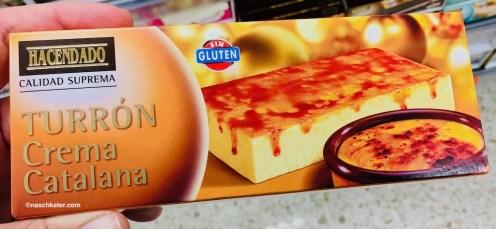 """Tourrón mit dem Geschmack von Creme Catalan von der spanischen Supermarkt-Eigenmarke """"Hacendada""""."""