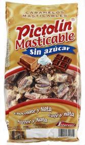Zuckerfreier Kaubonbons von Pictolin mit Tooffee-, Kaffee- und Schokoladengeschmack.