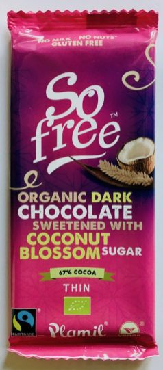 Plamil So Free Organic Dark Chocolate Coconut Blossom Sugar Thin 67% Cocoa
