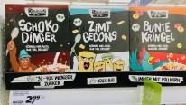 Rebelicious Cerealien Schokodinger+Zimtgedöns+Bunte Kringel 30-40% weniger Zucker Bio Vollkorn-Anteil