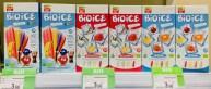 Gefunden bei Eataly in Turin: Bioice-Wassereis in den drei Sorten Original, Specialfruits und Kids