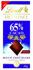 Lindt Excellence 65% Caco mit Milch