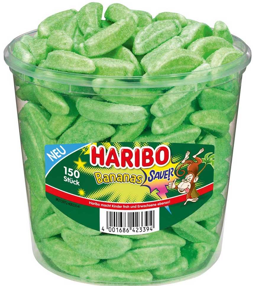 Haribo Grüne saure Bananen Runddose 150er