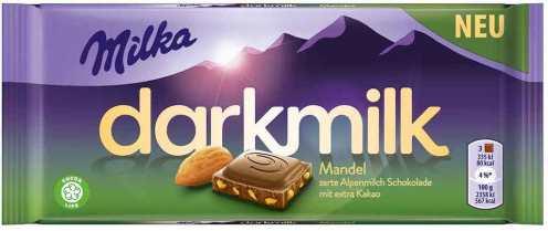 Mondelez Darkmilk von Milka mit Mandel.