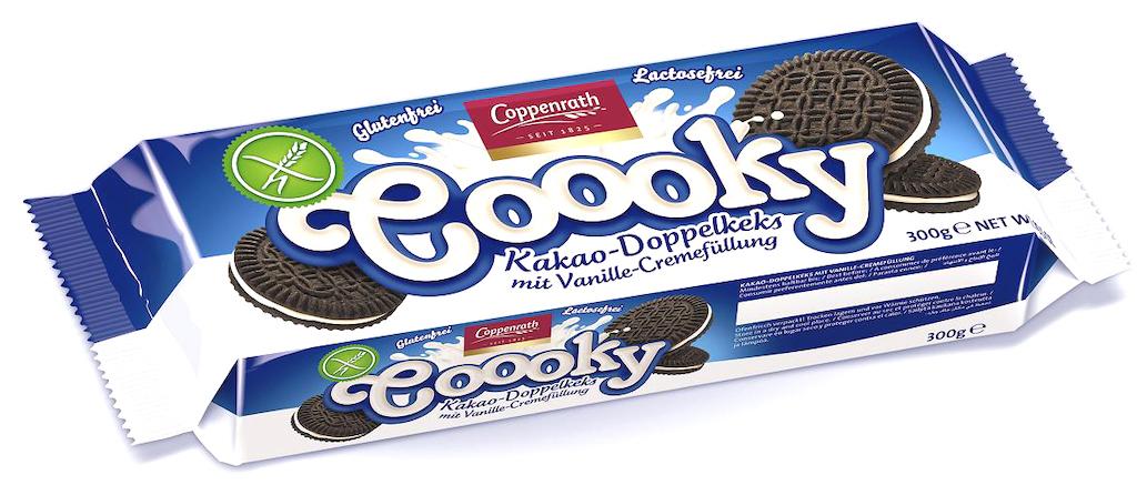 Coppenrath coooky Kakao-Doppelkeks mit Vanielle-Cremefüllung Gluten- und Lactosefrei