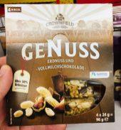 Lidl Crownfield Genuss Erdnuss und Vollmilchschokolade 4x 24 Gramm