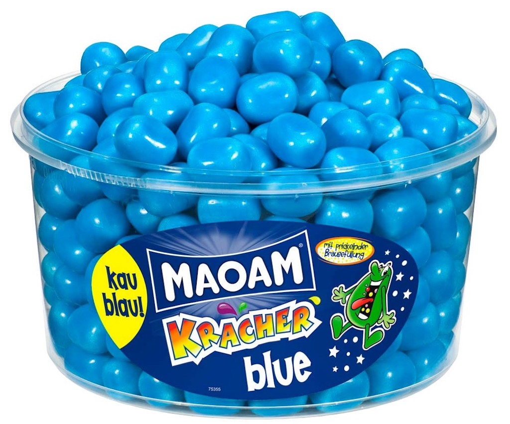 Maoam Kracher blue Kaubonbons Runddose