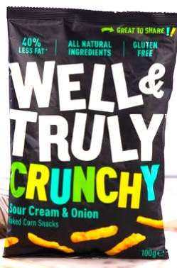 Well & Truly Crunchy Sour Cream+Onion 100 Gramm