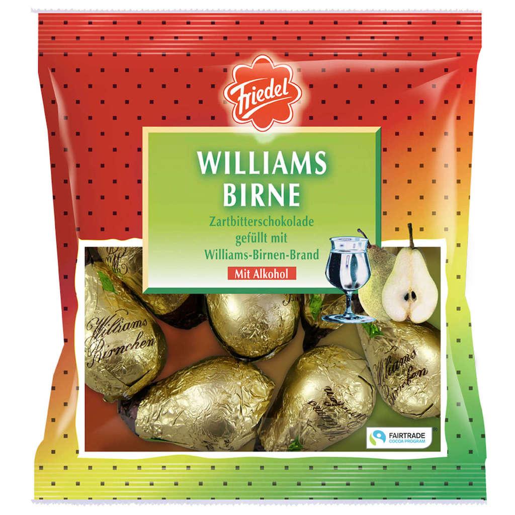 Friedel Williams-Birne Zartbitterschokolade gefüllt mit Williams-Birnen-Brand 125g