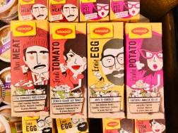 Maggi Gewürze mit menschlichen Gesichtern Max Met+Trudi Tomato+Ernie Egg+Paula Potato
