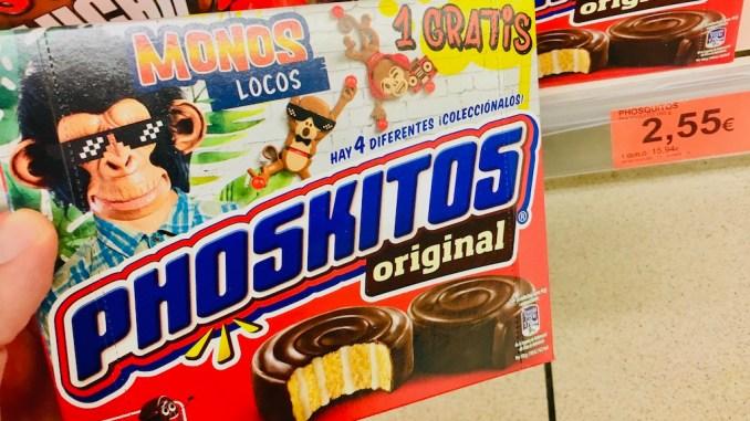 Phoskitos original Minikuchen mit Affen auf Verpackung MONOS LOCOS