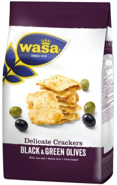 Wasa Delicate thin crackers Black+Green olives