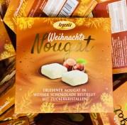 Argenta Weihnachts-Nougat in weßer Schokolade bestreut mit Zuckerkristallen