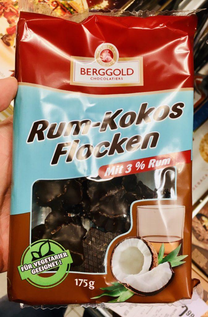Berggold Rum-Kokos-Flocken mit 3% Rum vegetarisch 175 Gramm
