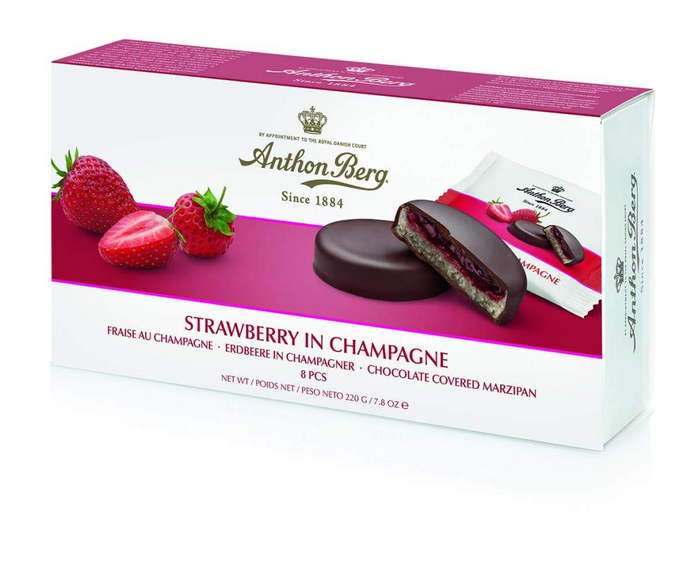 Anthon Berg Frucht in Marzipan Strawberry in Champagne 220 Gramm