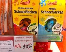Casali Schoko-Bananen Schneeflocken und Kokos Schneeflocken Christbaumbehang