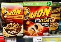 Nestlé Lion Knuspermüsli und Wildcrush Schoko-Karamell-Cereals 420+410 Gramm