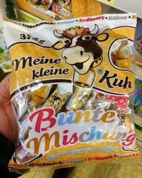TSI Meine Kleine Kuh Karamellbonbons Bunte Mischung Sahne-Erdbeere-Kakao-Kaffee 375 Gramm