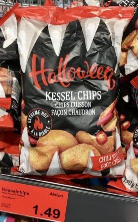 Aldi Kesselchips Halloween Chili Style Extrem scharf 150 Gramm