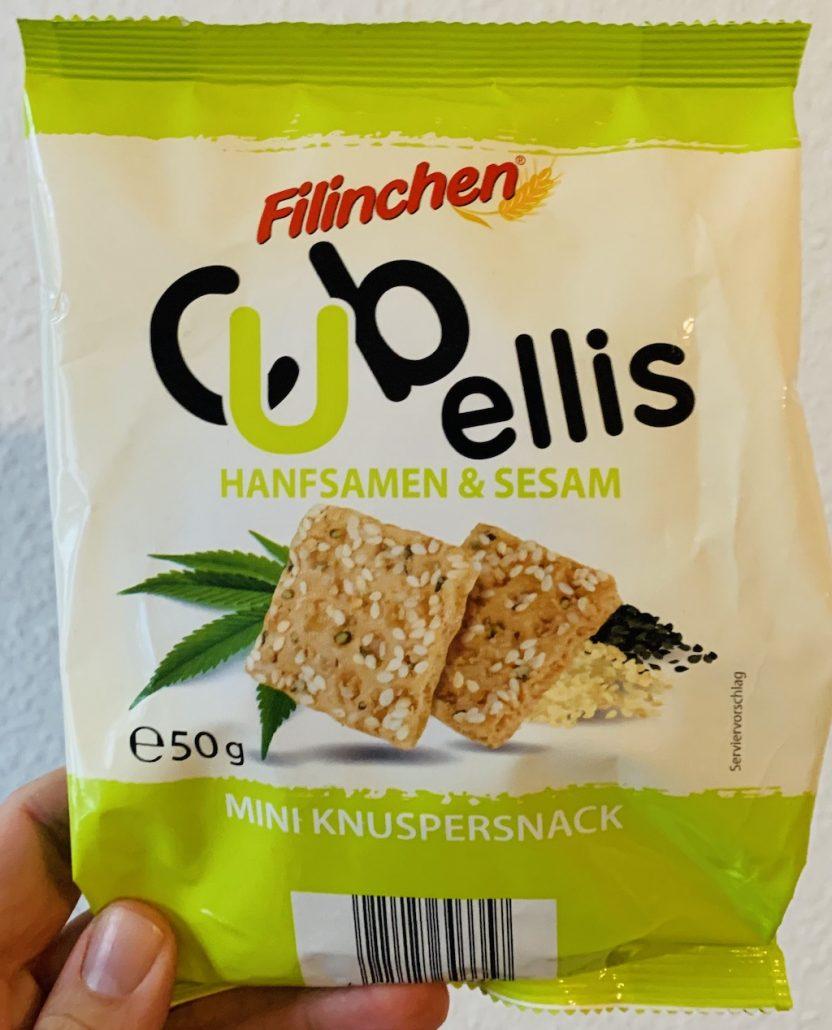 Filinchen Cubellis Hanfsamen und Sesam 50 Gramm mini Knuspersnack