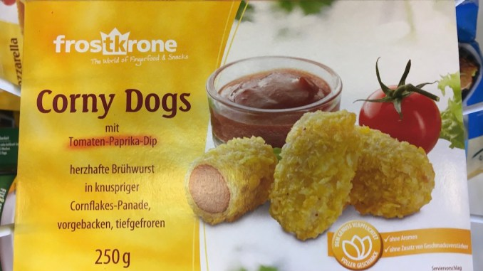 Frostkrone Corny Dogs mit Tomaten-Paprika-Dip Brühwurst in Cornflakes-Panade 250 Gramm Tiefgefroren
