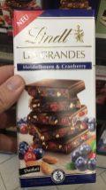Lindt Les Grandes Heidelbeere+Cranberry Dunkel Tafelschokolade