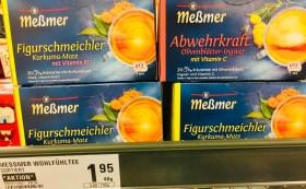 Meßmer Teebeutel Figurschmeichler Kurkuma-Mate mit Vitamin B12+Abwehrkraft Olivenblätter-Ingwer mit Vitamin C 20 Beutel