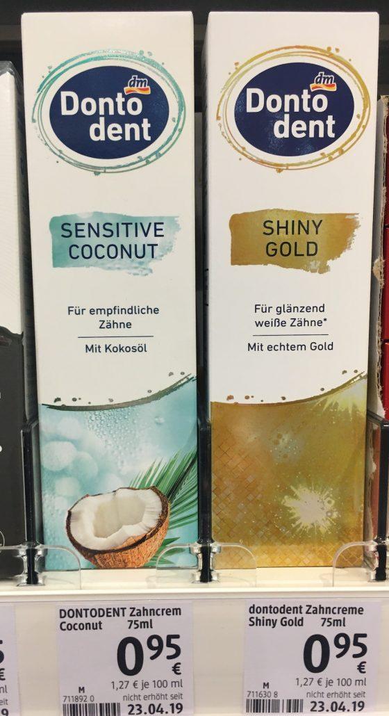 dm Donto Dent Sensitive Coconut mit Kokosöl oder Shiny Gold mit echtem Gold