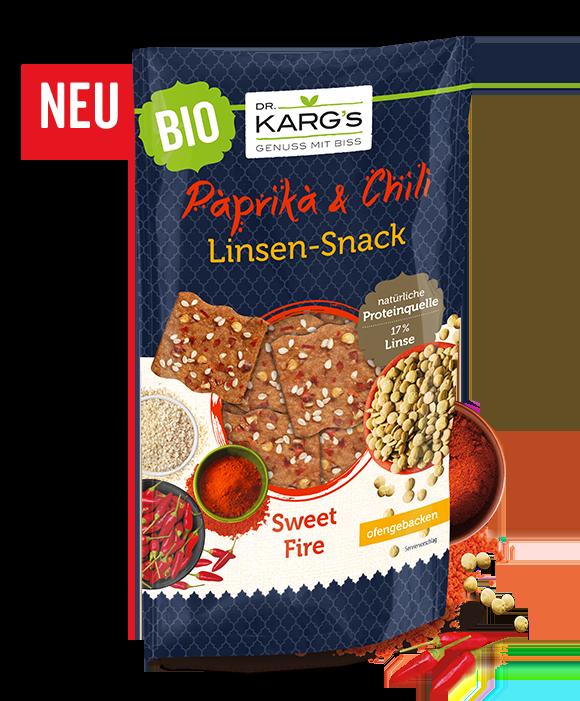 """Dr. Karg's Linsenproteinsnack """"Sweet Fire"""" mit Chili und Kokos."""