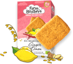 Farm Brothers Biokekse mit Zitrone-Ingwer-Geschmack.